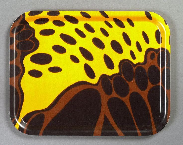 Birchwood tray with fabric designed by MARJATTA METSOVAARA, Valmu. Print on cotton för Tampella, Finland 1960s.