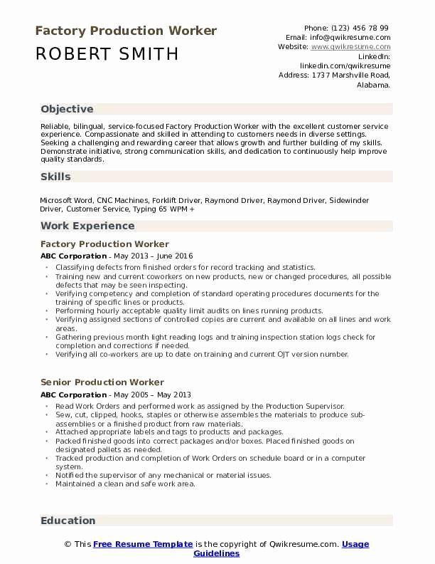 Assembly Line Worker Resume Objective Elegant Production Worker Resume Samples In 2020 Line Worker Resume Objective Resume