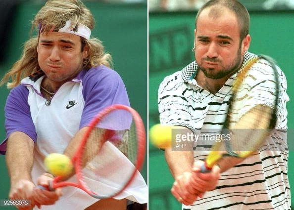 Left: Andre Agassi (USA)- 1991 French Open Final.     Right: 1995 French Open Third Round.