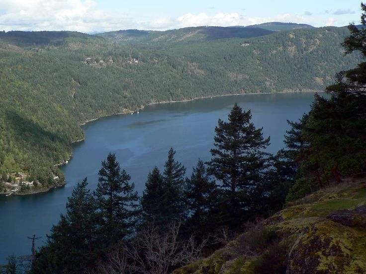 View of Saanich Inlet from Holmes Peak in Gowlland Tod Provincial Park near Langford, BC, Canada.