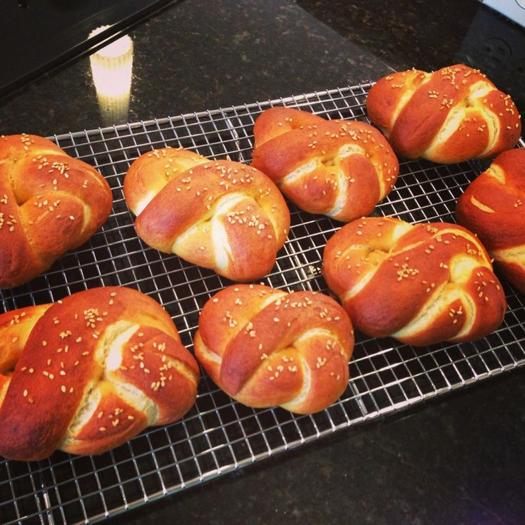 German Sesame Pretzel Rolls | Heavenly Food Recipes from When Angels Cook