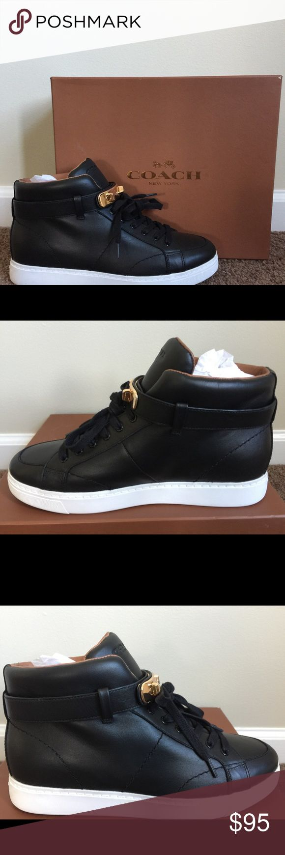 Coach size 8 sneakers Black leather sneaker Coach Shoes Sneakers