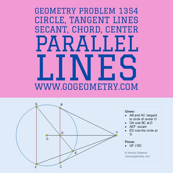 Typography of Geometry Problem 1354: Circle, Tangent Lines, Secant, Chord, Center, Parallel Lines using iPad Apps. Math Infographic, Tutor