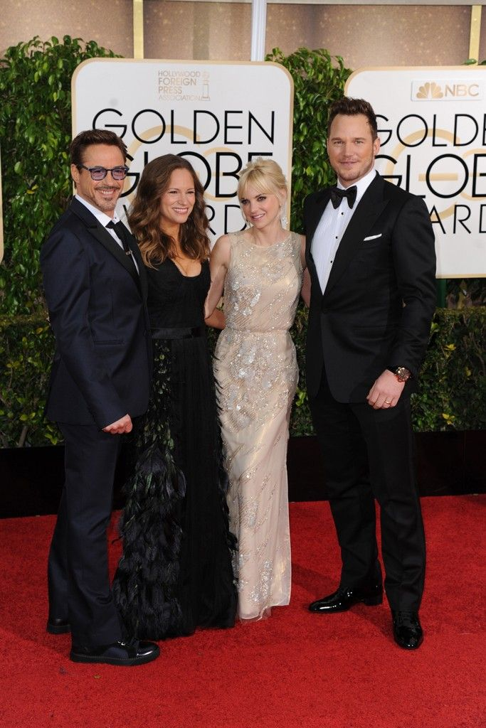 Robert Downey Jr. in Valentino and wife Susan with Anna Farris and Chris Pratt. [Photo by Tyler Boye]