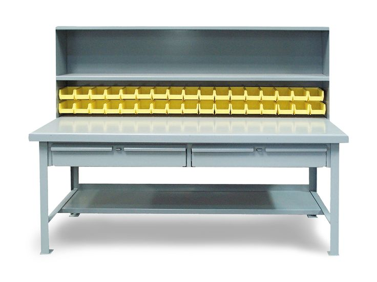 Multi-Area Work Table - Shop table with 7 gauge steel top, double riser shelf with bins, 2 drawers, and 12 gauge steel bottom shelf.