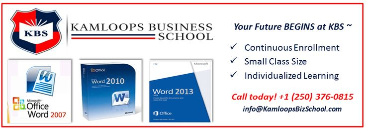 Upgrade your computer skills - starts October 14, 2014 - #Microsoft #Word  Cost $290.00.  KBS is fully accredited by PCTIA and EQA.  Call us! +1(250) 376-0815 or info@KamloopsBizS... Visit our website for more information: www.kamloopsbusin... *Prices subject to change