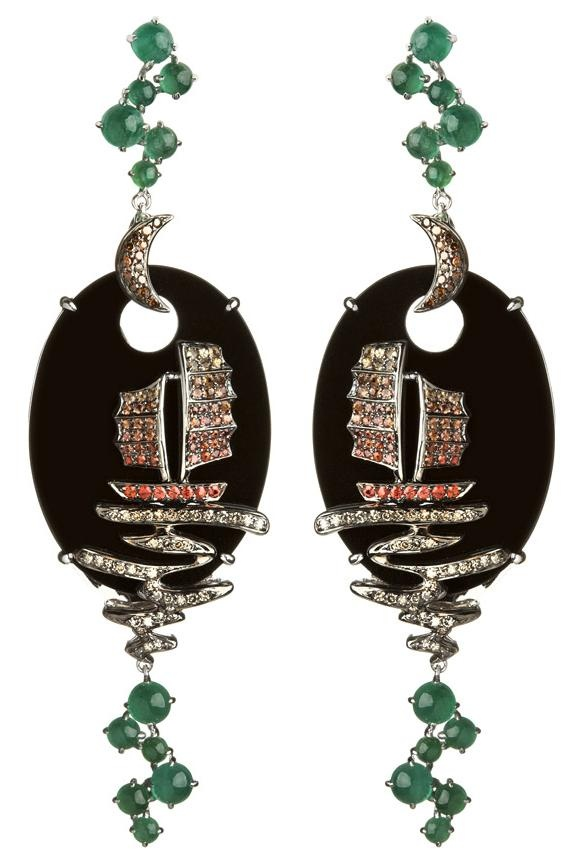 18ct white gold diamond sapphire and emerald Fantasie Night Ship earrings by Wendy Yue for Annnoushka