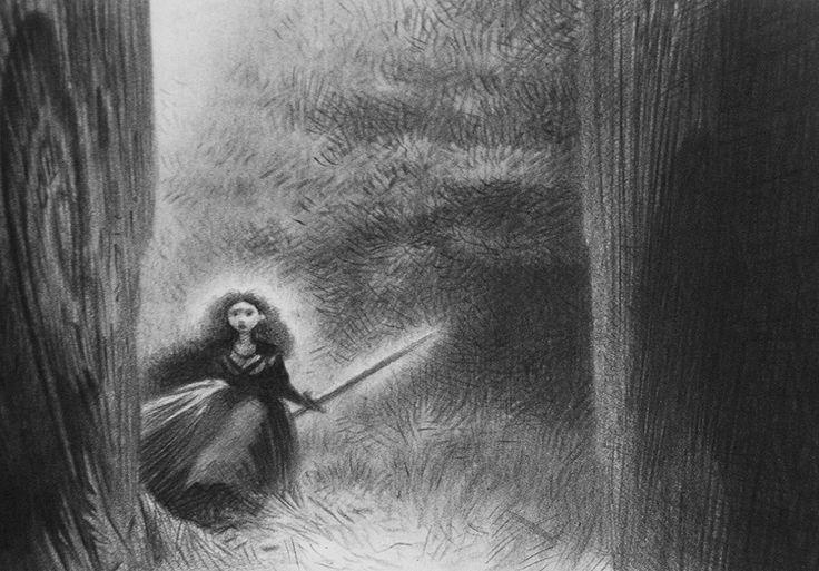 Brave (2012) concept art of Merida the warrior by Steve Pilcher