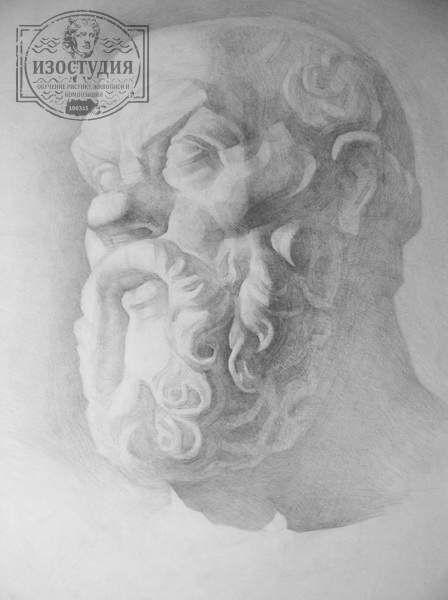 Обучение академическому рисунку гипсовой головы Сократа в Днепропетровске. Рисунок гипсовой головы выполнил Сергей. Уроки живописи и рисунка на курсах