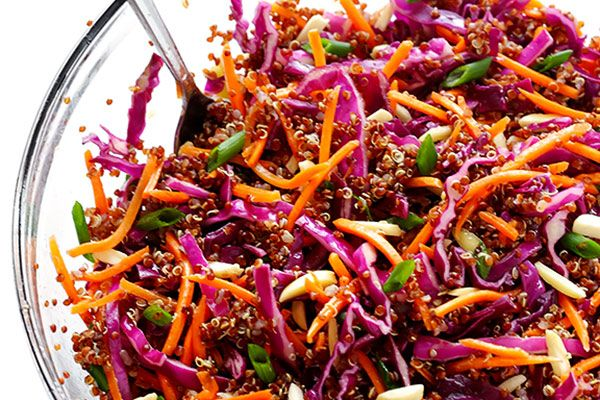 WHOLE GRAINS  |  RICE  |  QUICK COOK       Easy Asian Quinoa Salad Recipe from GimmeSomeOven.com INGREDIENTS SLAW    1 (16-ounce) bag shredded red cabbage (or about 4 cups shredded cabbage)  2 cups cooked Village Harvest red quinoa  2 cups