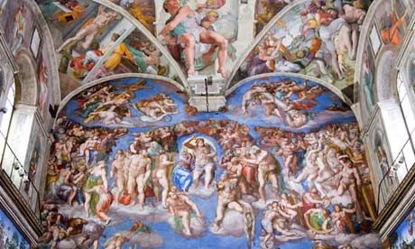 Big cover-up ... Michelangelo's The Last Judgment, complete with 'prissy curbings', in the Sistine Chapel.