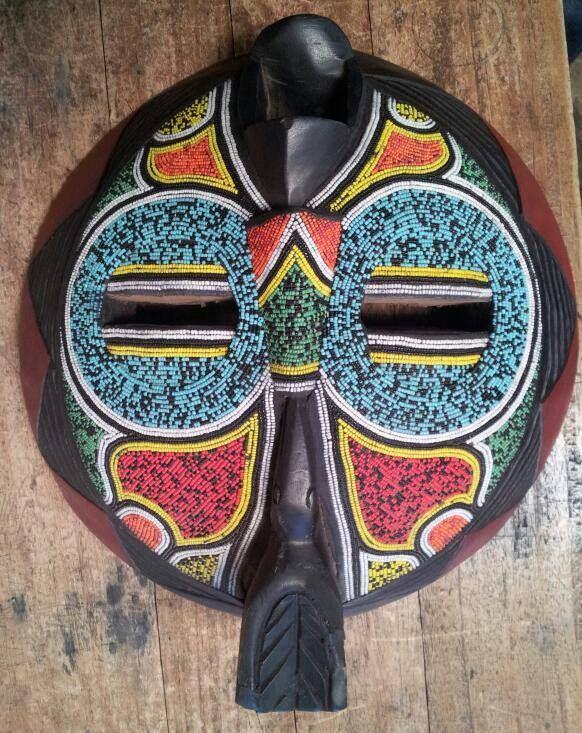 africanartonline.com - Ghana Traditional Down Mask, Hand carved in Ghana by Wisdom Nyarku, Free shipping to USA, Canada, UK, Australia, New Zealand (http://africanartonline.com/ghana-traditional-wooden-beaded-down-mask/)