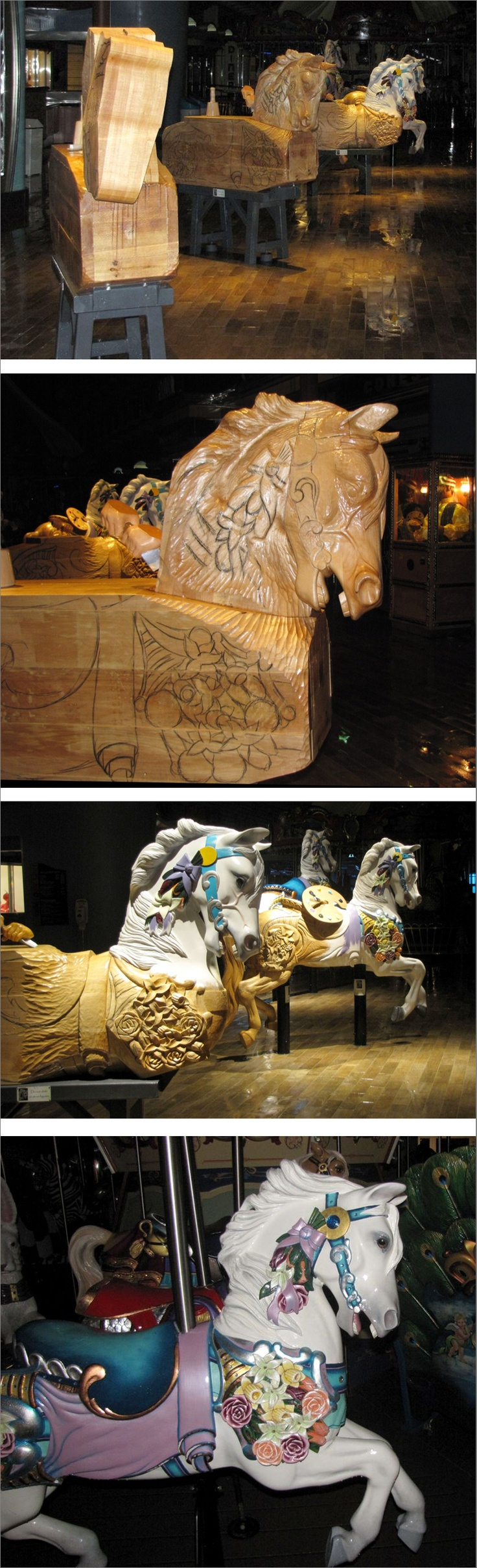 The hand-carved wooden animals in various stages of construction for use on the boardwalk carousel of the cruise ship Oasis of the Seas. It is the first carousel to ever operate at sea.