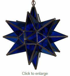 "Direct from Mexico. Cobalt Blue Glass Star Light. 15"". $330.00"