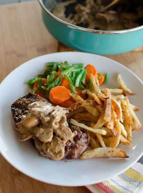 Sirloin Steak with Creamy Mushroom Peppercorn Sauce