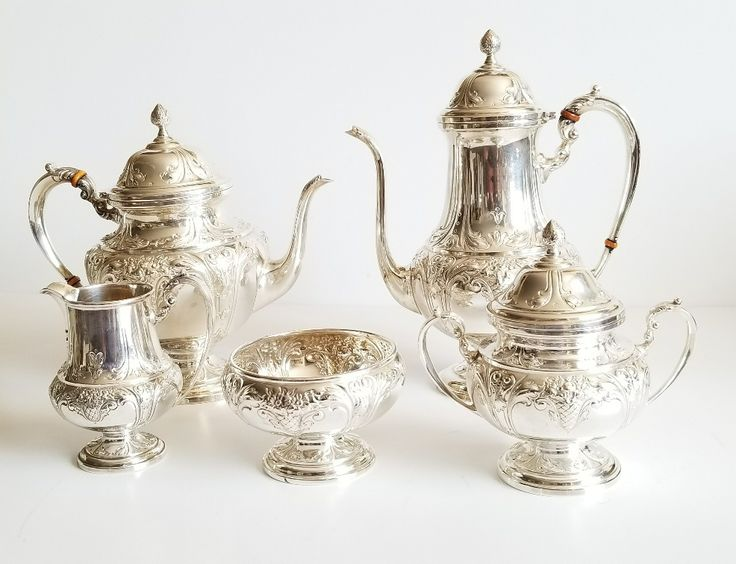Lot 403 S105 - Sterling Silver Coffee Tea Service Hand Chased - Est. $2500-3000 - Antique Reader