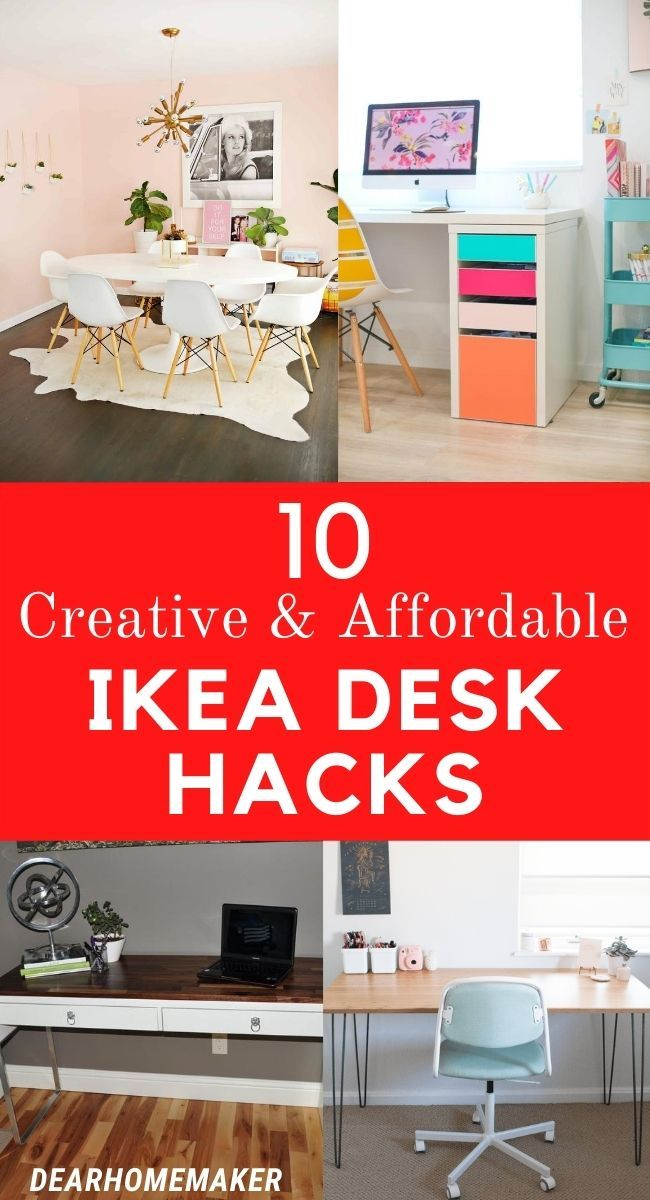 10 Best Ikea Desk Hacks That Are Super Easy To Do Dear Home Maker In 2020 Ikea Desk Ikea Desk Hack Best Ikea