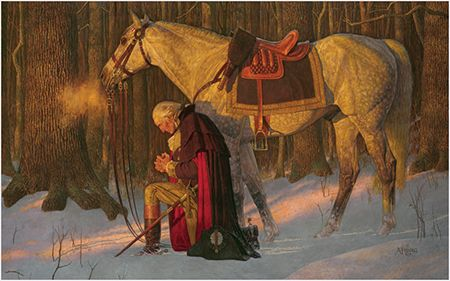 The Prayer At Valley Forge, a depiction of George Washington praying at Valley Forge. By Arnold Friberg, 1975
