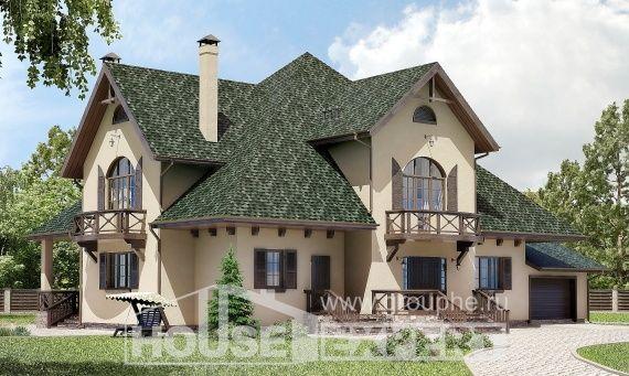 350-001-R Projekt domu dwukondygnacyjnego pięterko mansardowe i garażem, ogromny dom podmiejski z betonu drewnianego, Jastrzębie-Zdrój