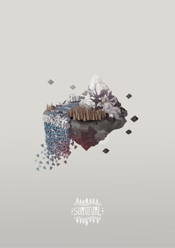 Survival animation & poster by vasuphon sanpanich, via Behance - 3D Typography Design Modelling