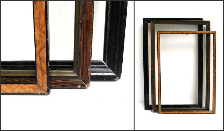 Set 3 Vintage Wood Open Frame Picture Mirror Wall Hanging Gallery Black Brown Distressed Rustic Display Mismatched Collection Wedding Decor by WoodHistory on Etsy
