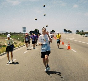 Weird Sports: Joggling  Joggling is a combination of juggling and jogging. The name of the sport is itself a combination of the two games- Juggling and Jogging. The rules for the sport are simple. The competitors must maintain a juggling pattern while running. Keep in mind that if an object is dropped, the joggler must return and continue from the point where the object fell.