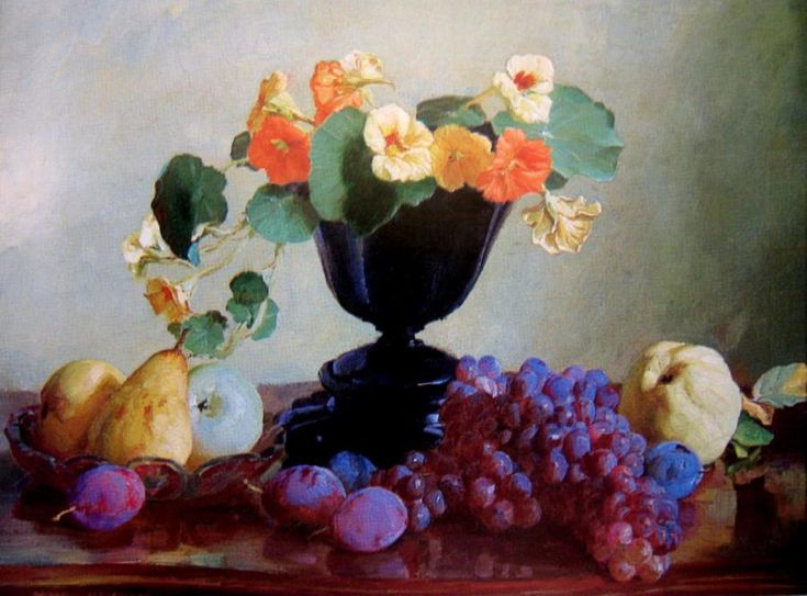 Hans Heysen. Still Life with Nasturtiums, Grapes, Plums and Pears
