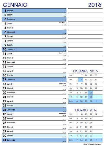Calendario mensile 2016 gratis