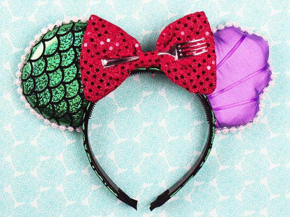 Mermaid Princess Mouse Ear Headband with Fork & Bow