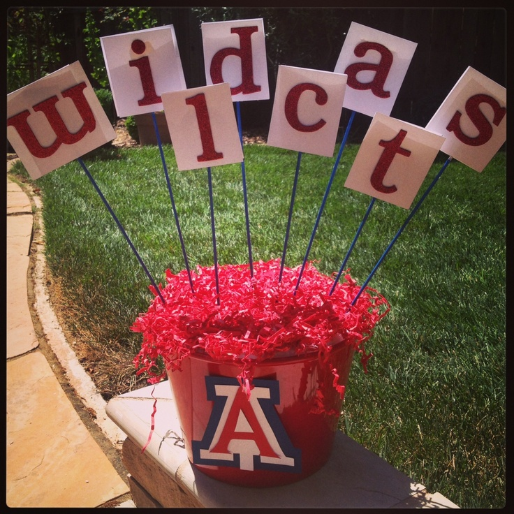 Centerpieces I made for an Arizona themed graduation party. Wildcats on one side, Beardown on the other.