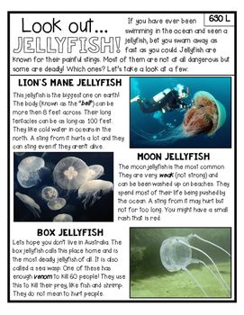 Jellyfish article- This non-fiction article is lexile leveled (630L) and ready to print! It comes with 10 evidence-based comprehension questions where students are asked to prove their answers using knowledge from the text.If you like this free product, please follow my store and take a look at my other close reading packs.