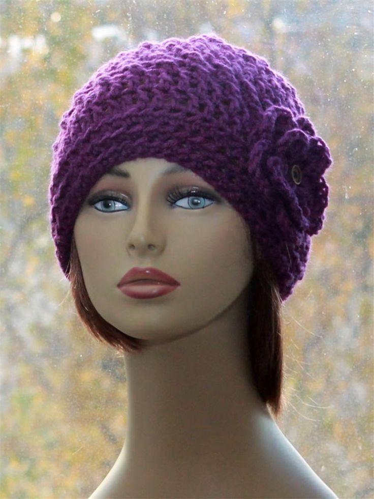 Womens Hat Crochet, Slouch Boho Hat, Beautiful Flower -4238