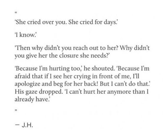 she cried over you