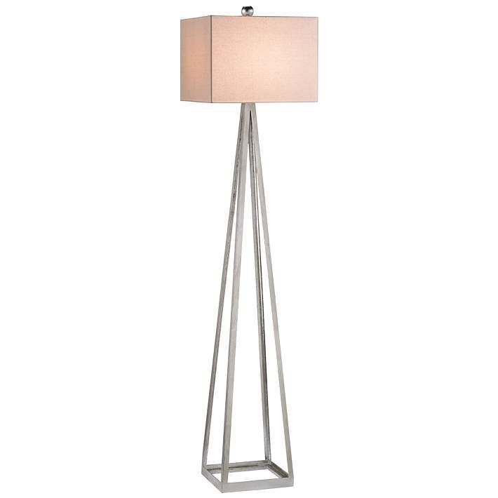 Currey And Company Bel Mondo Silver Leaf Floor Lamp 8p250 Lamps Plus In 2020 Floor Lamp Lamp Linen Lamp Shades