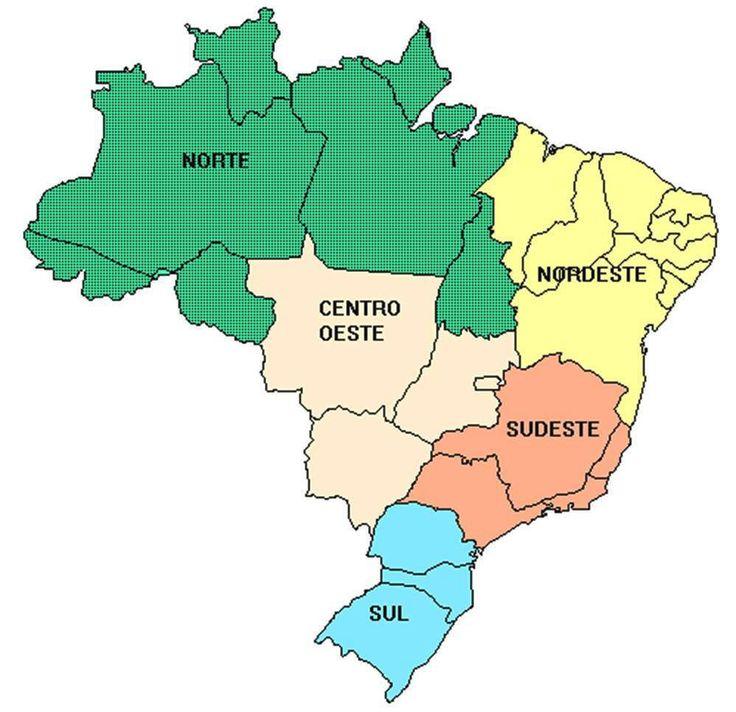 MAPA DO BRASIL  E SUAS CINCO REGIÕES