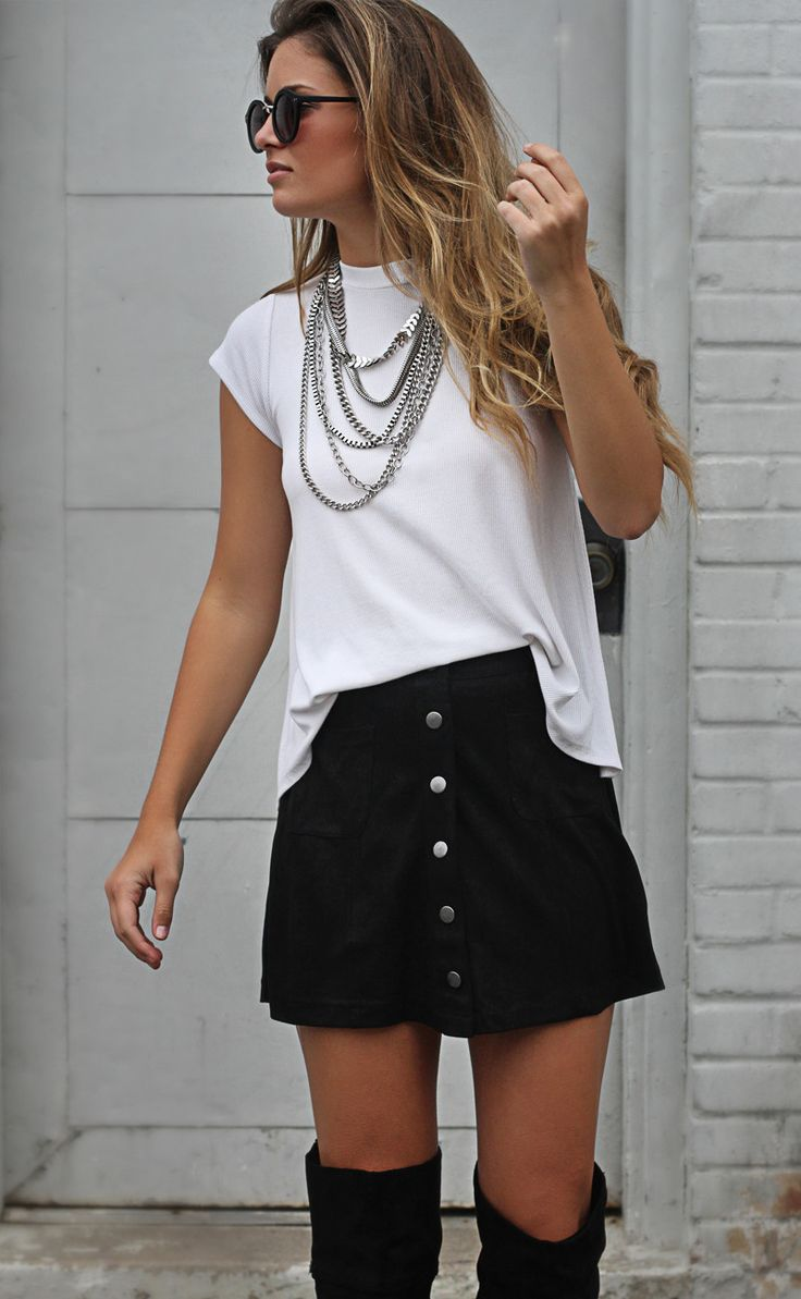 marvelous button up skirt outfit ideas 11