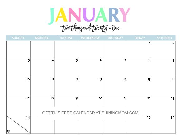 Free Printable 2021 Calendar: So Beautiful and Colorful ...