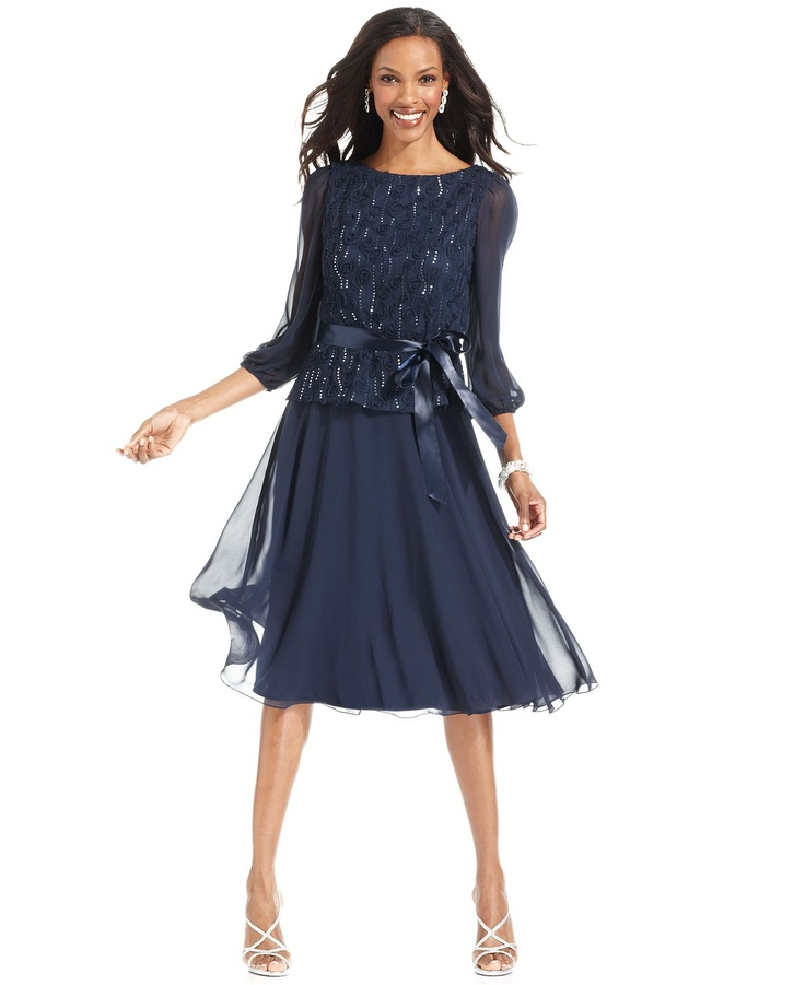 $78 Jessica Howard Dress, Three-Quarter-Sleeve Sequined Ribbon-Belted - Dresses - Women - Macys