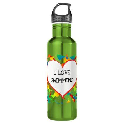 I Love Swimming Heart Colourful Modern Abstract Stainless Steel Water Bottle - home gifts ideas decor special unique custom individual customized individualized