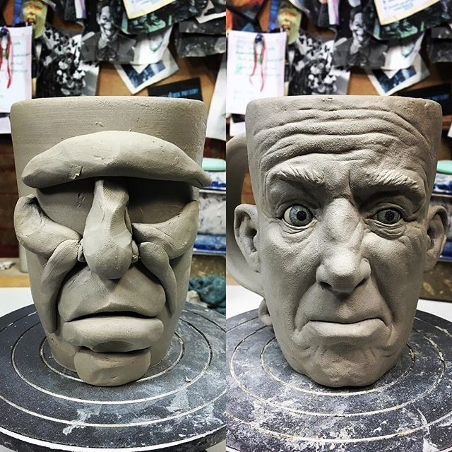 HOW TO MAKE A FACE MUG - Step 1: Add clay for primary facial features Step 2: Add small details @krylove #pottery #tankard #handmade #mug #facemug #coffeelover #functionalart #sculpture #creepy #clay #character #coffeemug #coffee #coffeetime #mugshot #smile #mugcollection #coffeeaddict #selftaught #coffeebreak #ceramics #stoneware #mondaymornings #beforecoffee #mugsofinstagram #mugaddict #mugcollection #highwaterclays #mugshotmonday #CSC