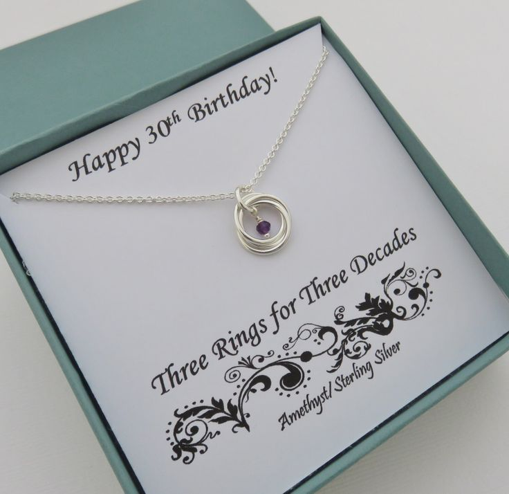 30th Birthday Gift For Her, February birthday gift, amethyst necklace, February birthstone necklaces, 3 rings, 30th birthday gift, mhd, ring by MarciaHDesigns on Etsy https://www.etsy.com/listing/493996776/30th-birthday-gift-for-her-february