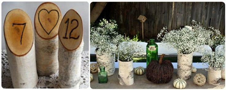 tronc de bouleau en tant que déco de table originale - vases avec gypsophiles et numéros de table intéressants