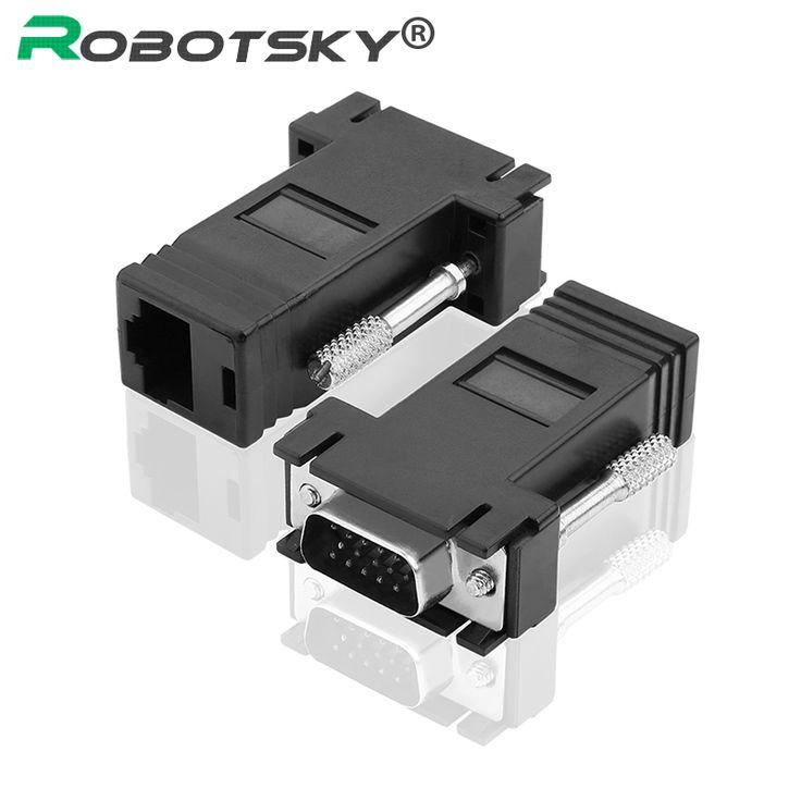 2 stücke rj45 zu vga extender stecker auf lan cat5 cat6 rj45 netzwerk ethernet adapter computer zusatzschalter konverter