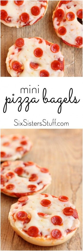 Homemade Mini Pizza Bagels (they are way better than the frozen kind!) - Six Sisters' Stuff
