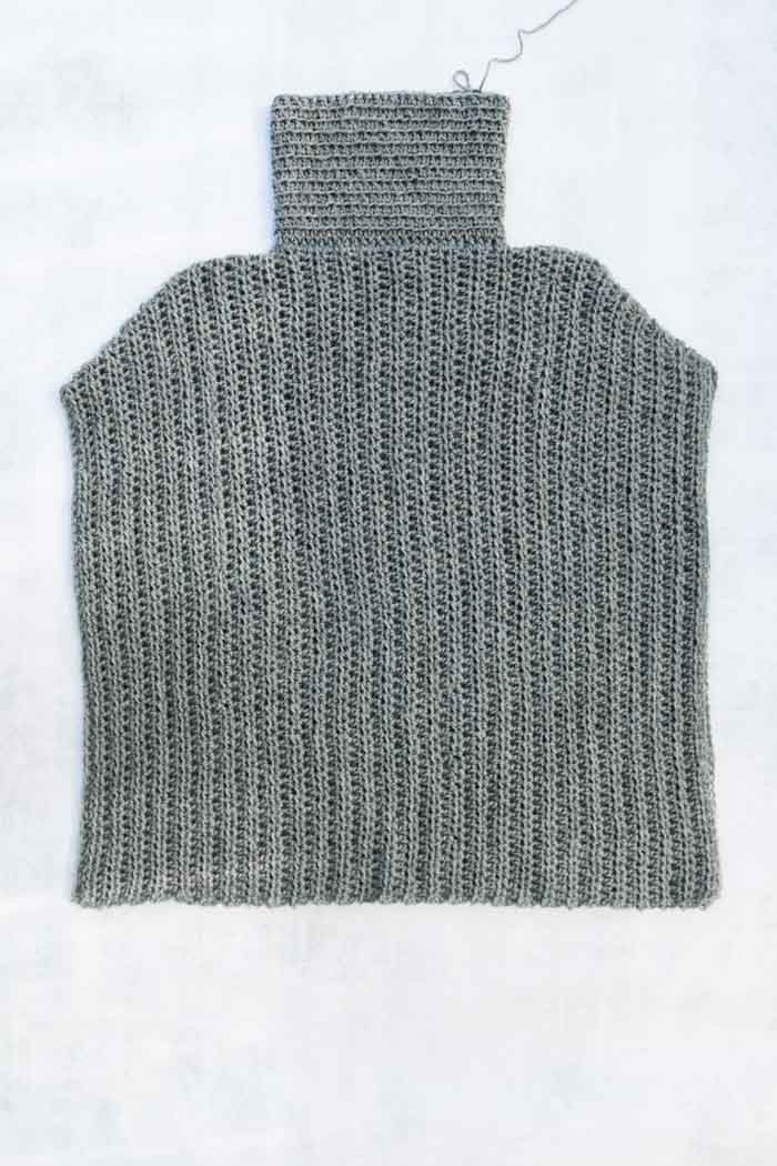 """How to crochet a poncho tutorial! The Grayscale Poncho pattern from Make and Do Crew featuring Lion Brand Touch of Alpaca yarn in """"Gray Oxford."""""""