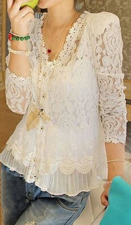 White Patchwork Lace Ruffle Grenadine 3/4 Sleeve Slim Blouse