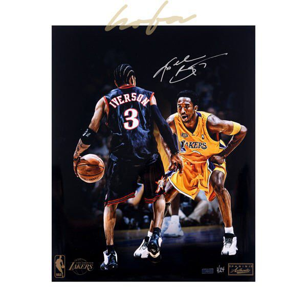 Kobe has gone head to head against some of the greatest players of all time and in the 2001 NBA finals he was matched up against the great Allen Iverson. The two dueled it out under the brightest lights and on the biggest stage. Take home this iconic piece of the two soon to be Hall of Famers. . This autographed Kobe Bryant photograph includes a Panini Authentic certificate of authenticity with a unique hologram number that corresponds to the hologram on the actual collectible. These…