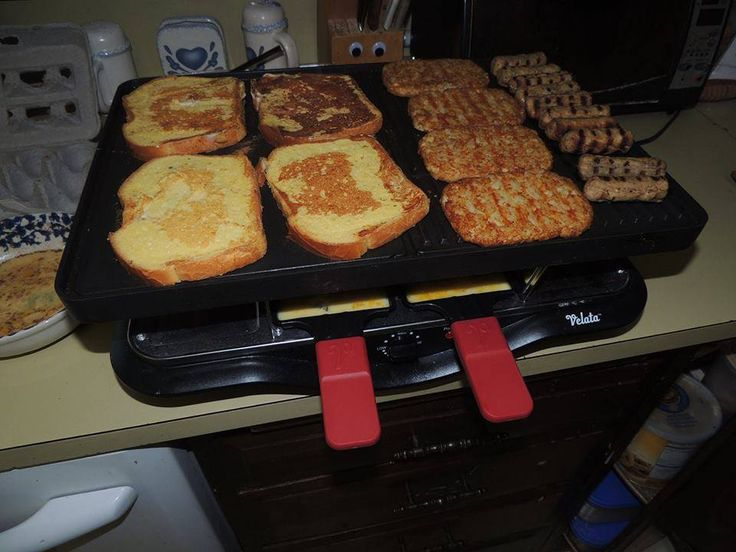French Toast, Hasbrowns, Sausauge and Eggs ~ Create memorable meals or parties with the Velata Raclette Tabletop Grill. Borrowing a centuries-old Swiss tradition, the Velata Raclette is an easy-to-use appliance that allows you to cook delicious meals at the table. https://PeggyLewis.velata.us