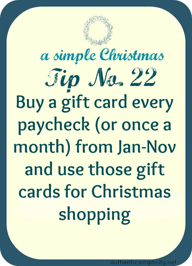smart idea for saving money on christmas gifts, and not having to spend all your money at once....brilliant!