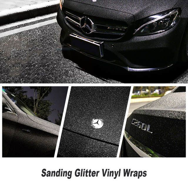 Matte Black Sanding Pearl Glitter Vinyl Wrap Air Bubble Free